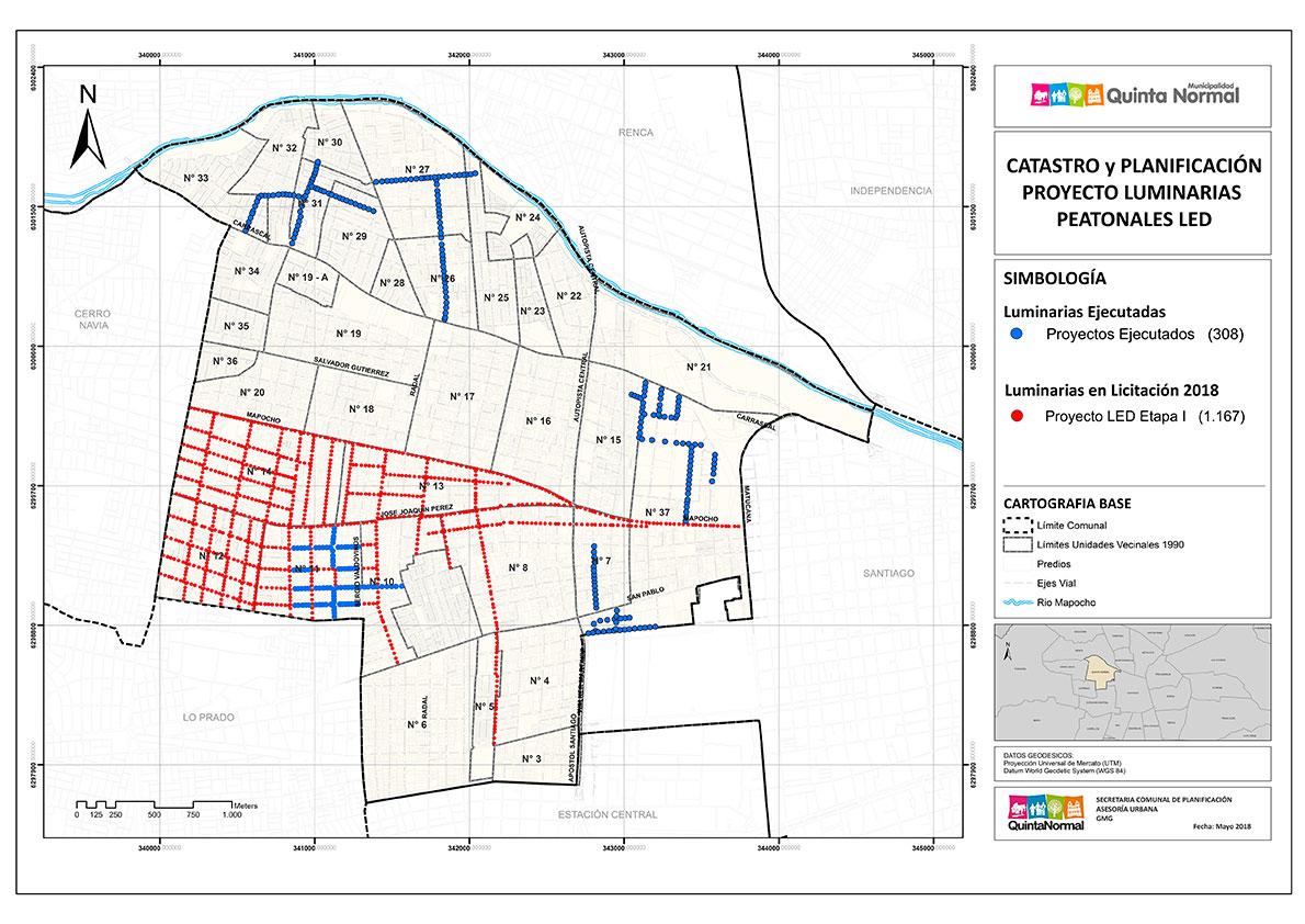 Conozca el mapa de las nuevas luminarias peatonales