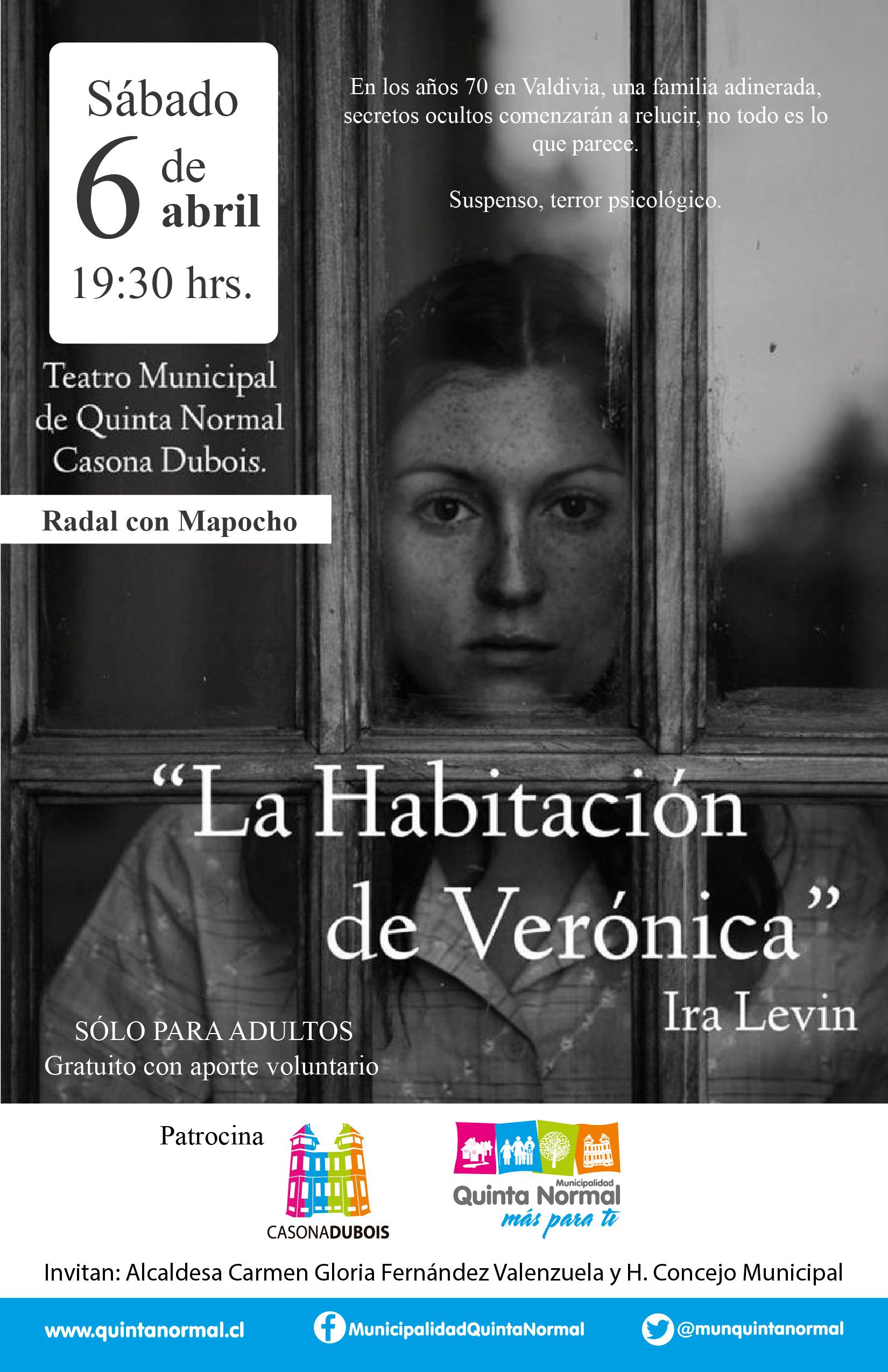 Obra «La Habitación de Verónica» Sábado 06 de abril, 19:30 hrs.