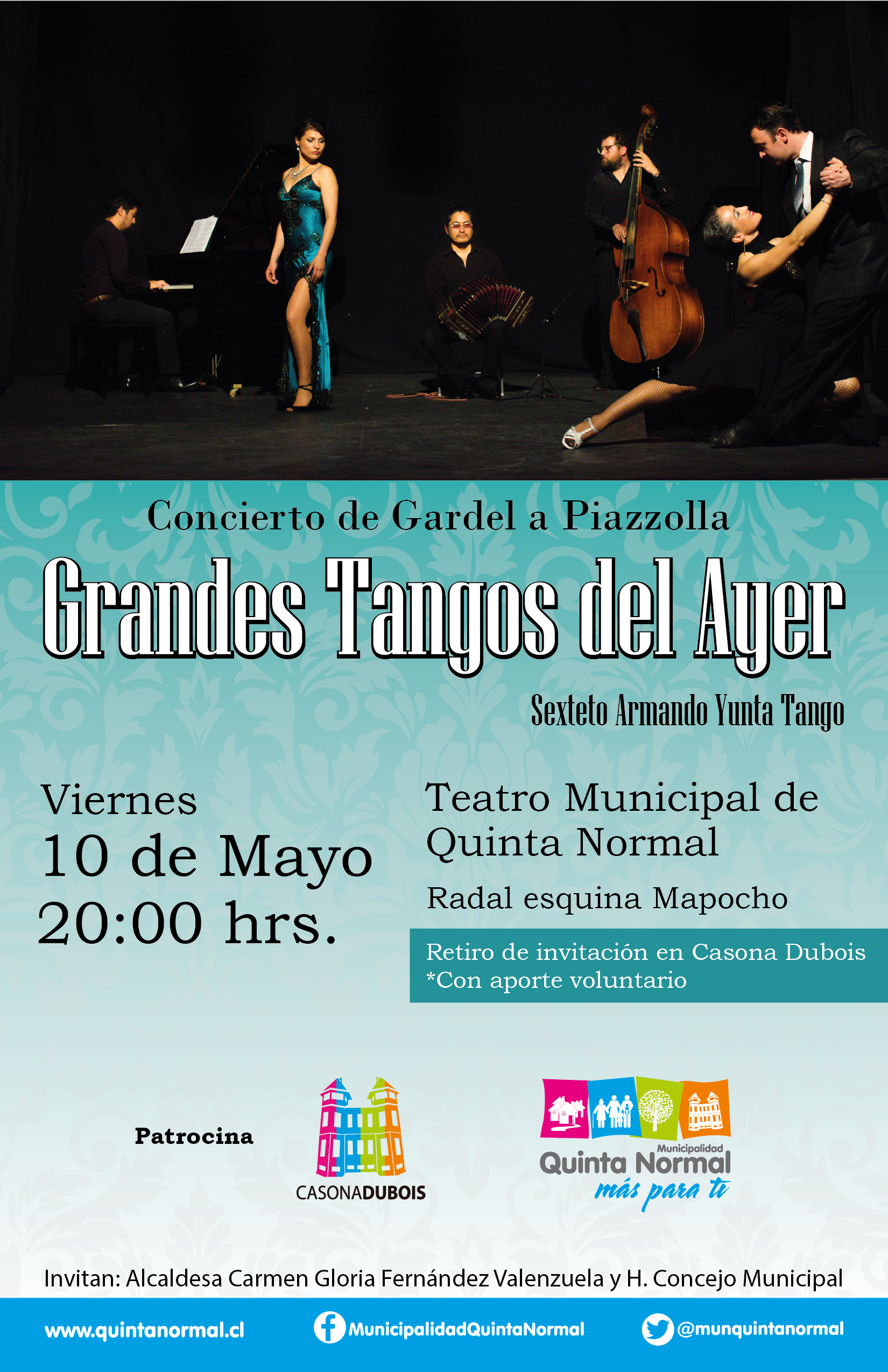 Concierto «Grandes Tangos del Ayer». Viernes 10 de Mayo, 20:00 hrs.