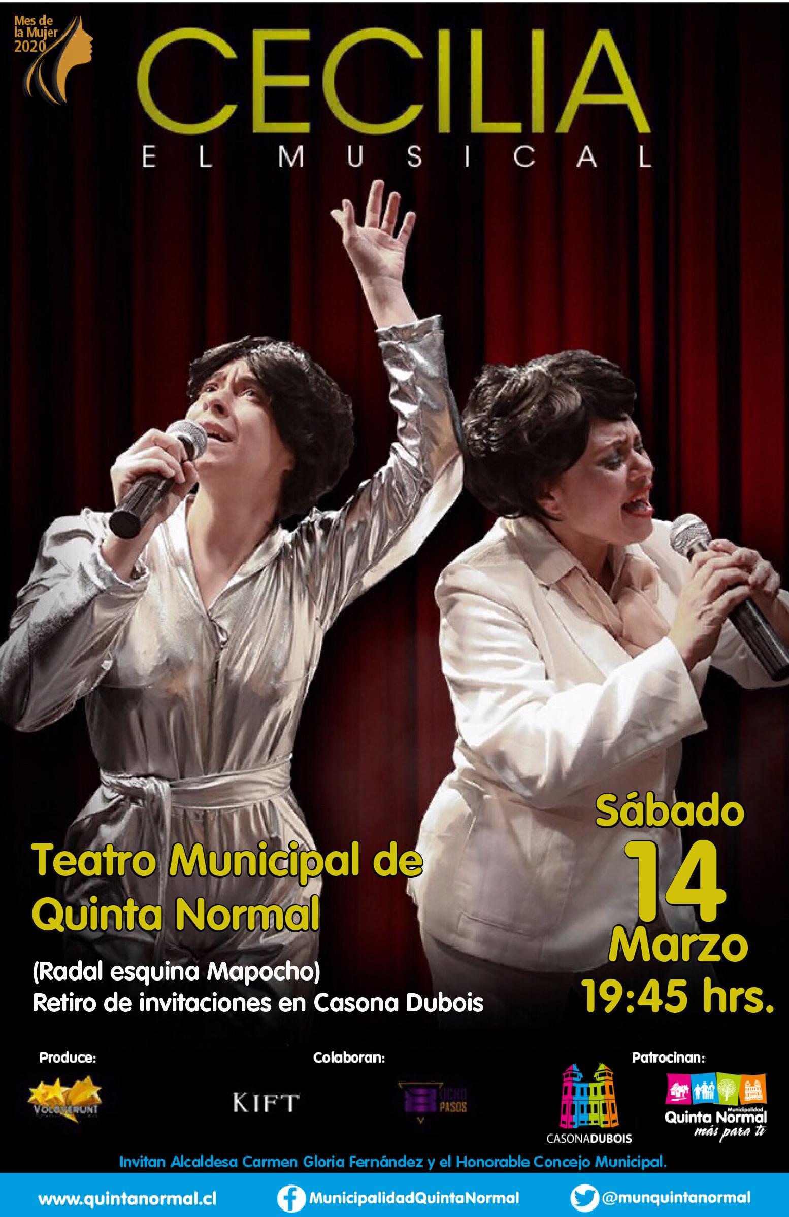 Cecilia, El Musical. Sábado 14 de Marzo, 19:45 hrs