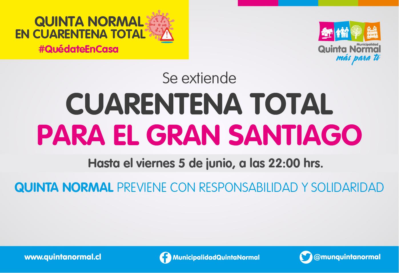 Quinta Normal sigue en Cuarentena Total